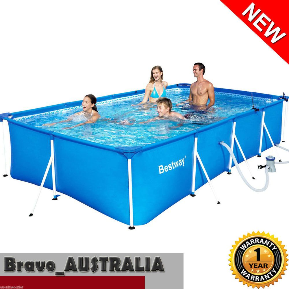 Bestway Steel Frame Pool Above Ground Rectangle 4m Swimming Pool W