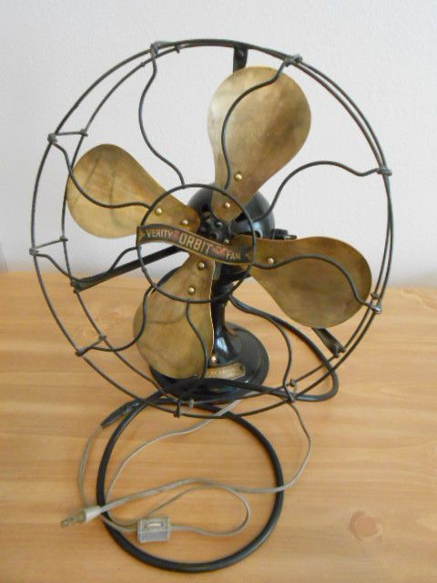 Antique Vintage Electric Fan Orbit W 12 Brass Blades For Parts Or