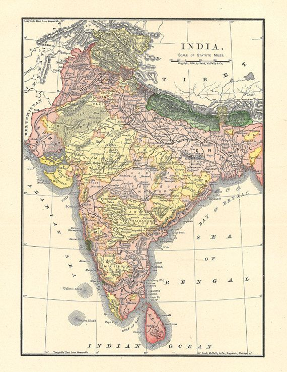old map of India from 1904, a printable vintage map from ArtDeco on
