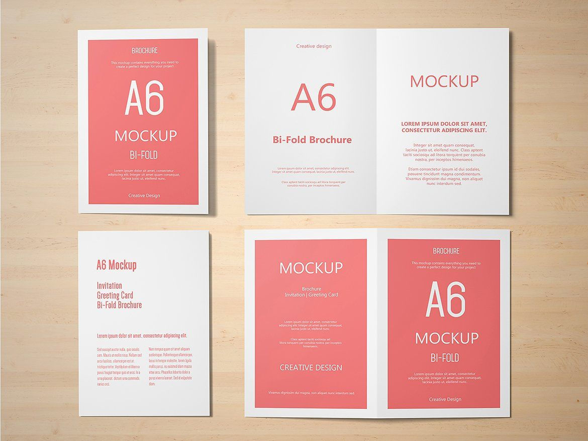 A6 Portrait Greeting Card Mockup Fully Set Files Psd