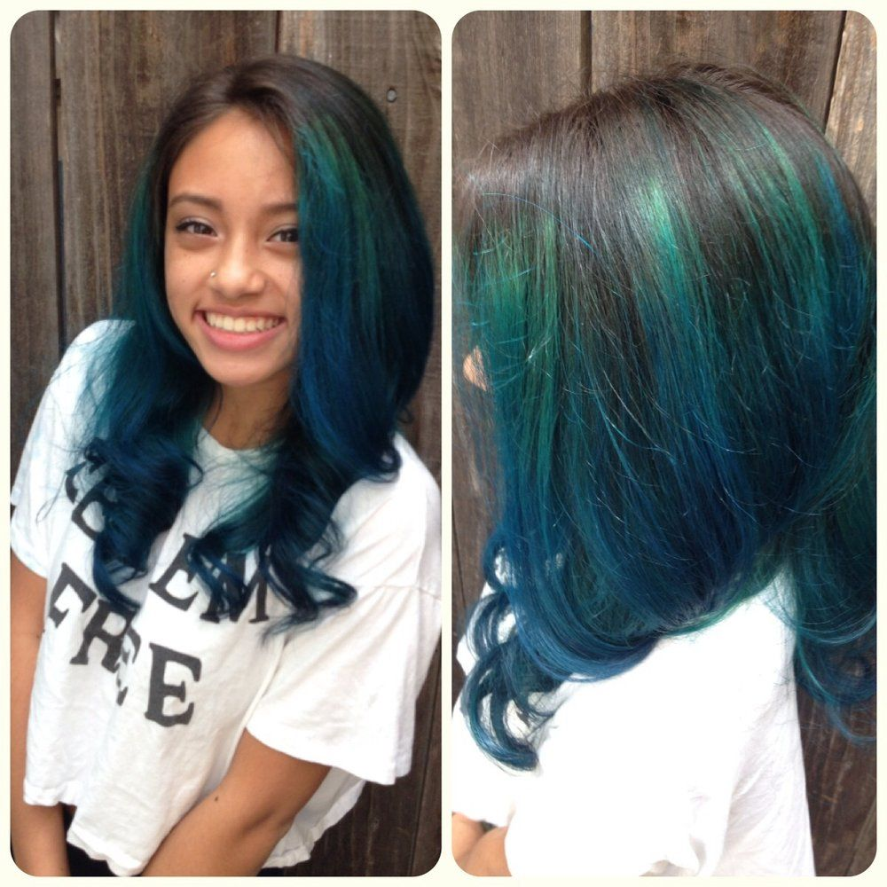 black to turquoise ombre hair - photo #20