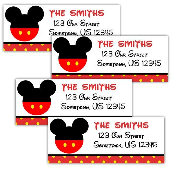 Mickey Mouse Head Personalized Address Labels Stickers By