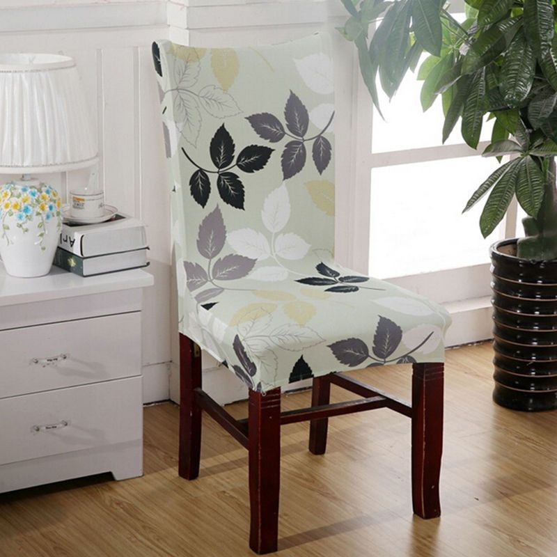 removable floral stretch short dining room stool chair cover