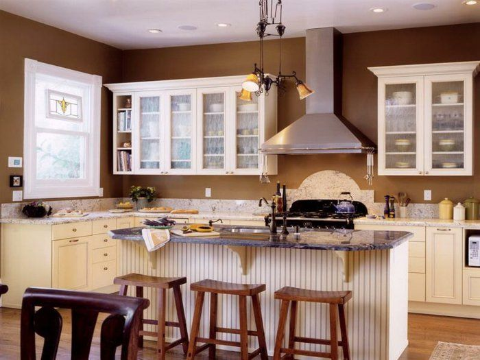 wandfarbe küche braun gemütliche küche gestalten kücheninsel ...