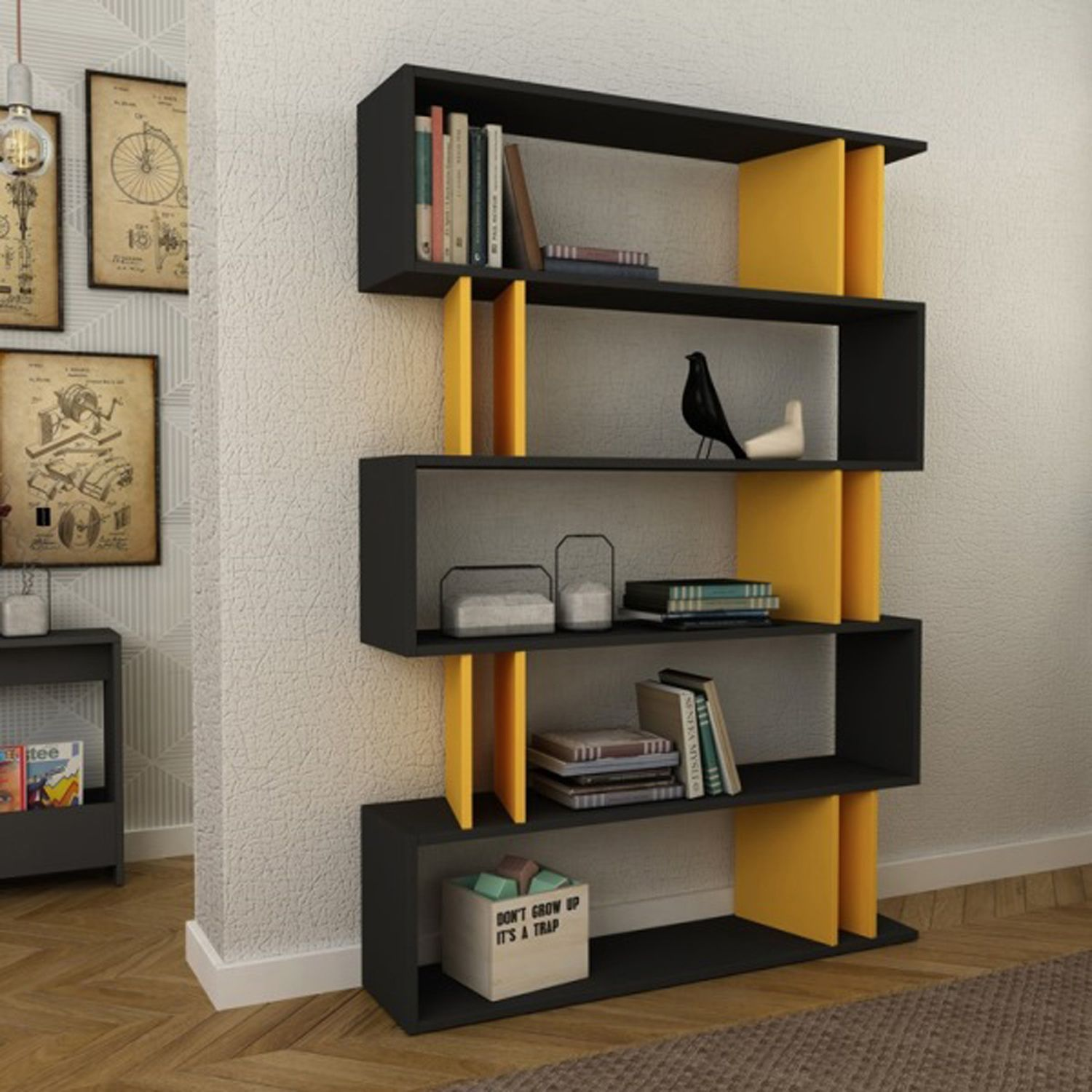 Elias Anthracite Mustard Bookcase Living Room Chests