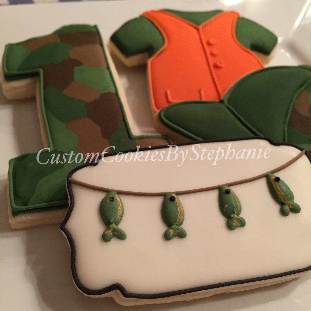 Hunting themed first birthday cookies Hunting fishing camo first
