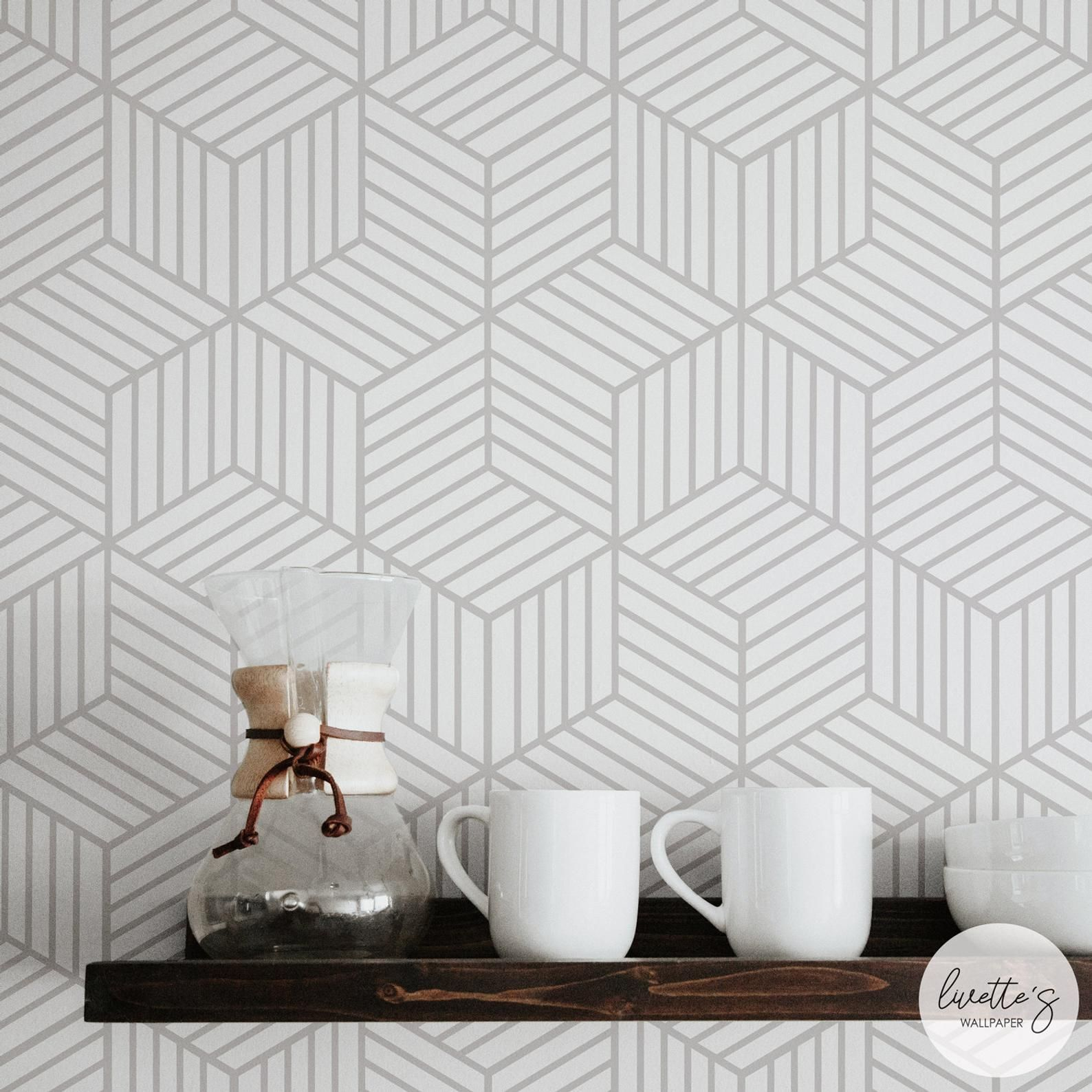 Cube Removable Wallpaper In Light Grey Color Available In Etsy Cube Design Removable Wallpaper Traditional Wallpaper