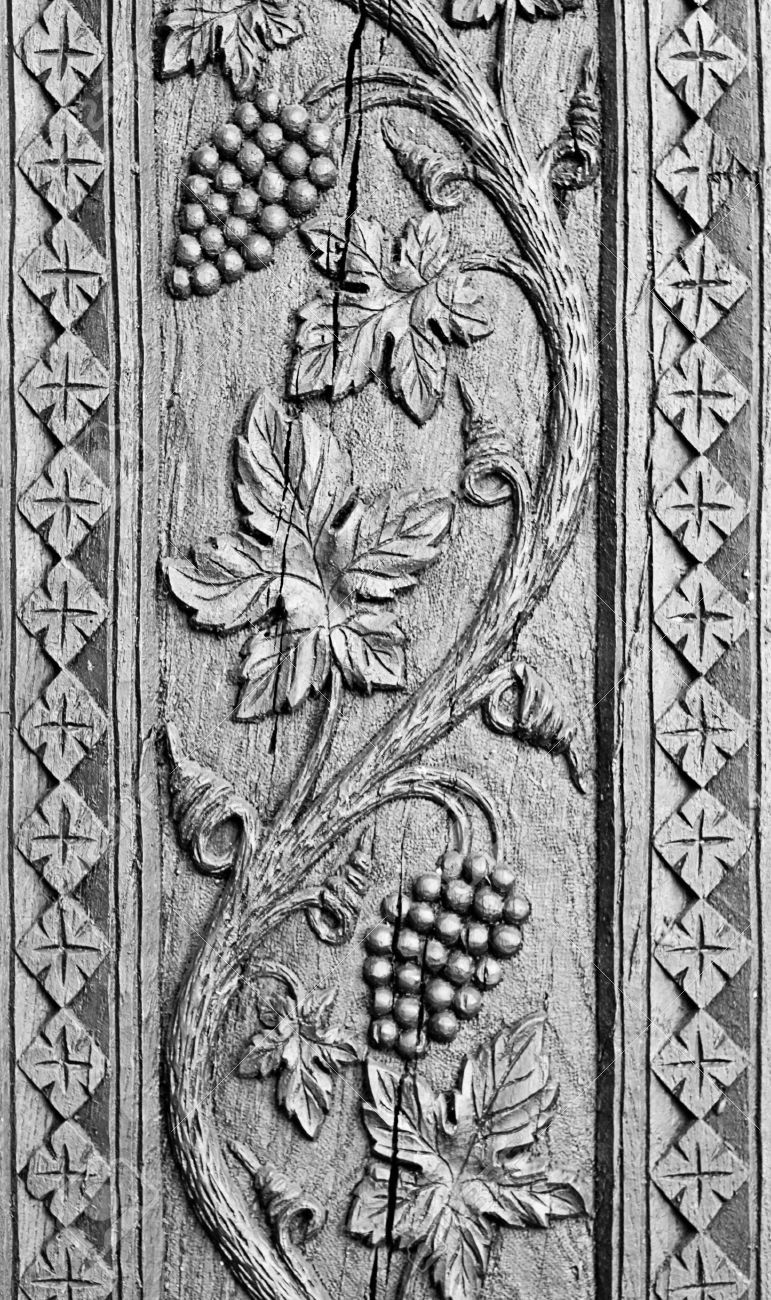 Wood carved ornament background grapes decoration craving