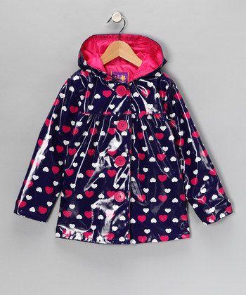 toddler girls raincoats dark blue-pink