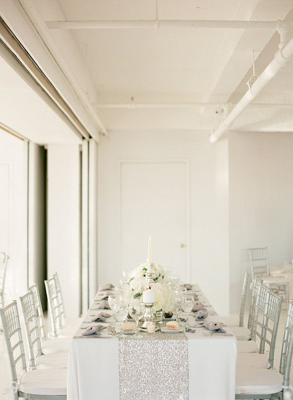 Marvelous 10 Tablecloths And Table Runners We Love. White Silver ...