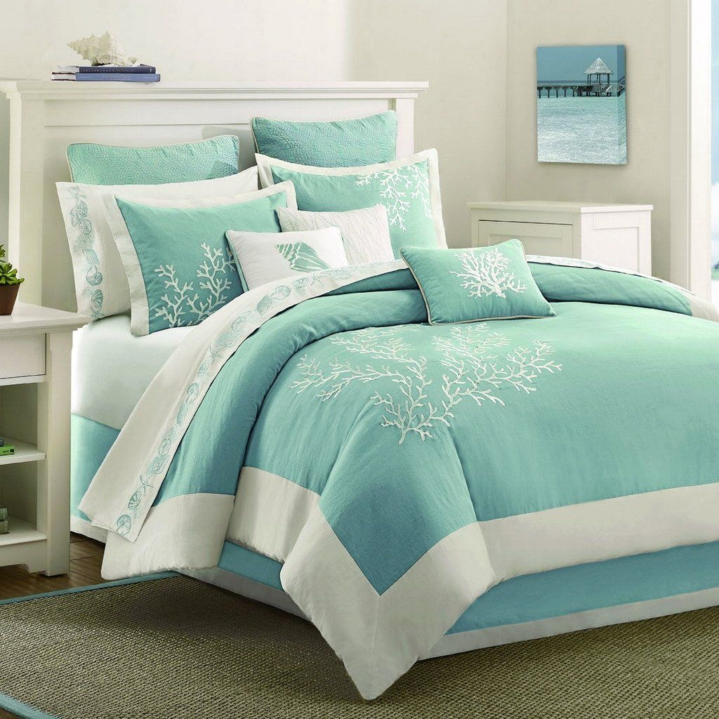 Beau Aqua Blue Bed Comforter With Coral Embroidery Accents