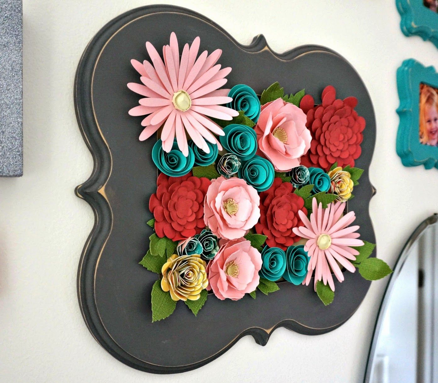 Wall Decor With Cricut : Embroidered scrap notebook cover flower wall decor