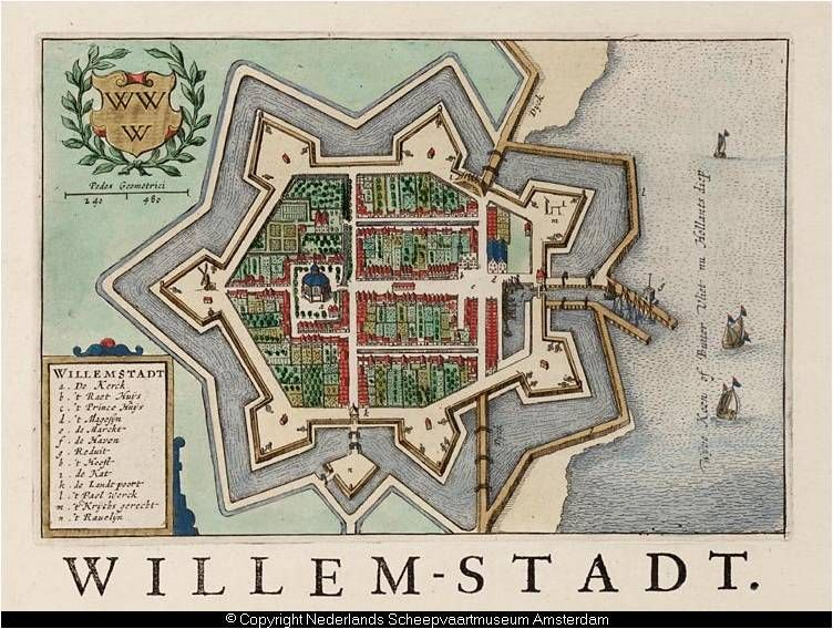 Map showing the 7 pointed star fortifications of willemstad image diagram of 7 star defenses of willemstadt netherlands diagram from wikipedia ccuart Gallery