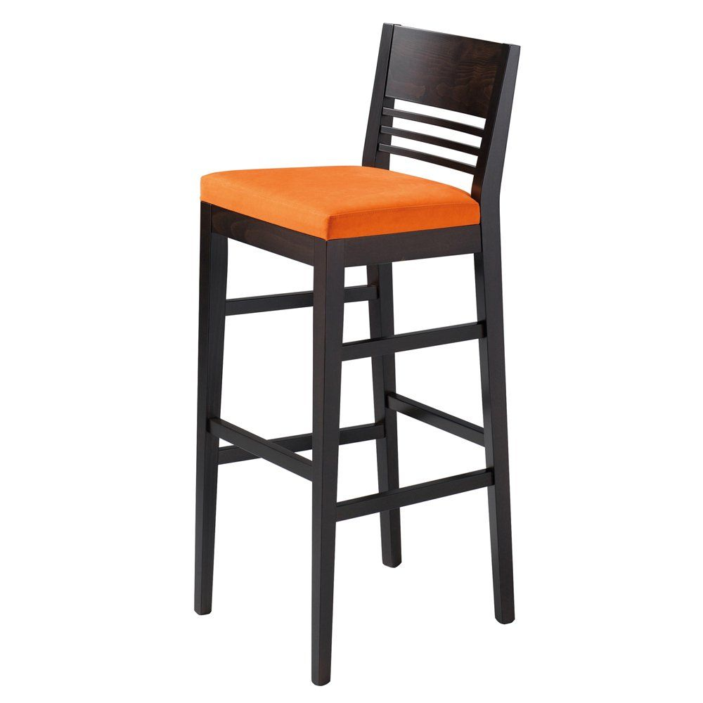 Lina Orange Upholstered And Dark Wood Barstool Chairs Bar Furniture, Golf  Club Furniture, Wood, Upholstered, Design Back @ Ultimate Contract