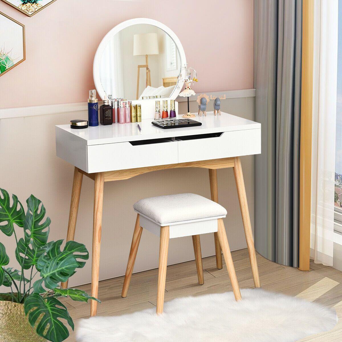 Makeup Vanity Table Set With Round Mirror Dressing Table White Vanity Table Set Small Vanity Table Vanity Table