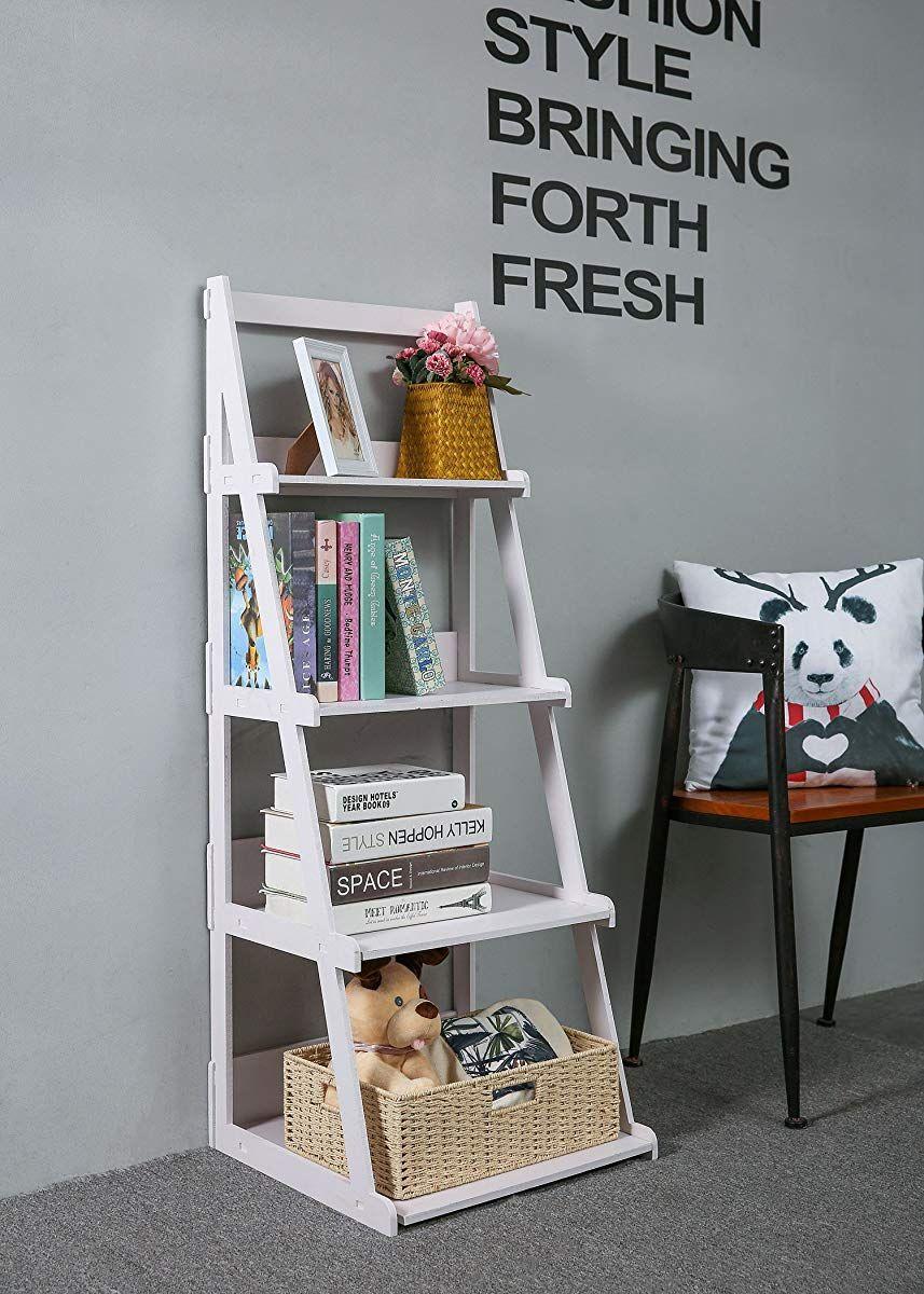 Woodplastic tier ladder style shelf white white ladder