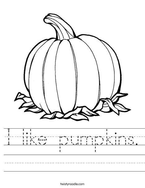 I like pumpkins Worksheet - Twisty Noodle. You can change ...