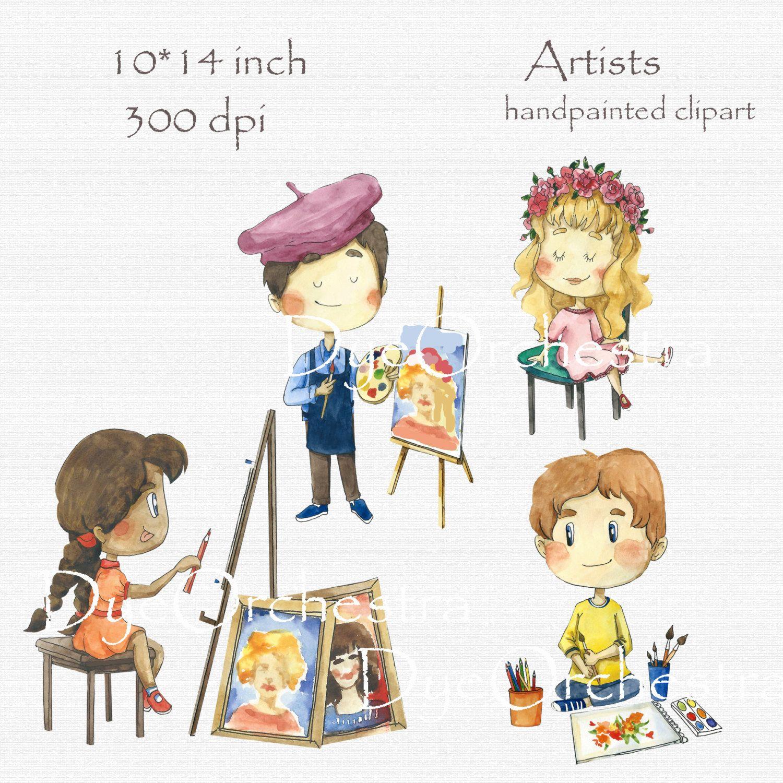 Digital clipart clip art watercolor children watercolor