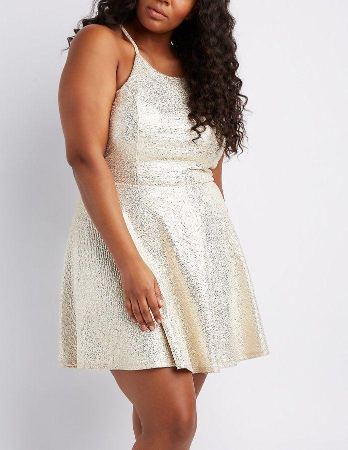 24109f1df2a Charlotte Russe Plus Size Shimmer Knit Bib Neck Skater Dress