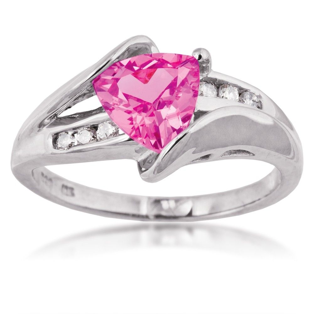 Ladies Created Pink Sapphire and Diamond Ring in White Gold ...