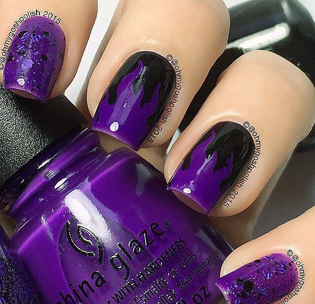 Purple Halloween Flames! This awesome tutorial is by @ohmygoshpolish!✨ Thank ya!  - Fire #NailVinyls  www.snailvinyls.com