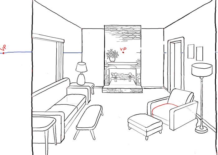 Living Room Chair With Ottoman Stuhlede Com Perspektive Zeichnen Raum Zeichnen Perspektive