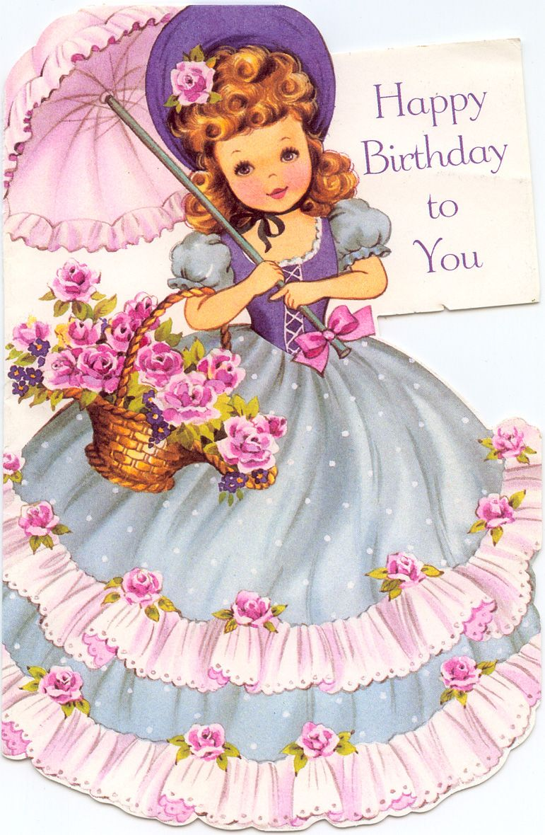 vintage little girl greeting card parasol Google Search – Birthday Cards Girls