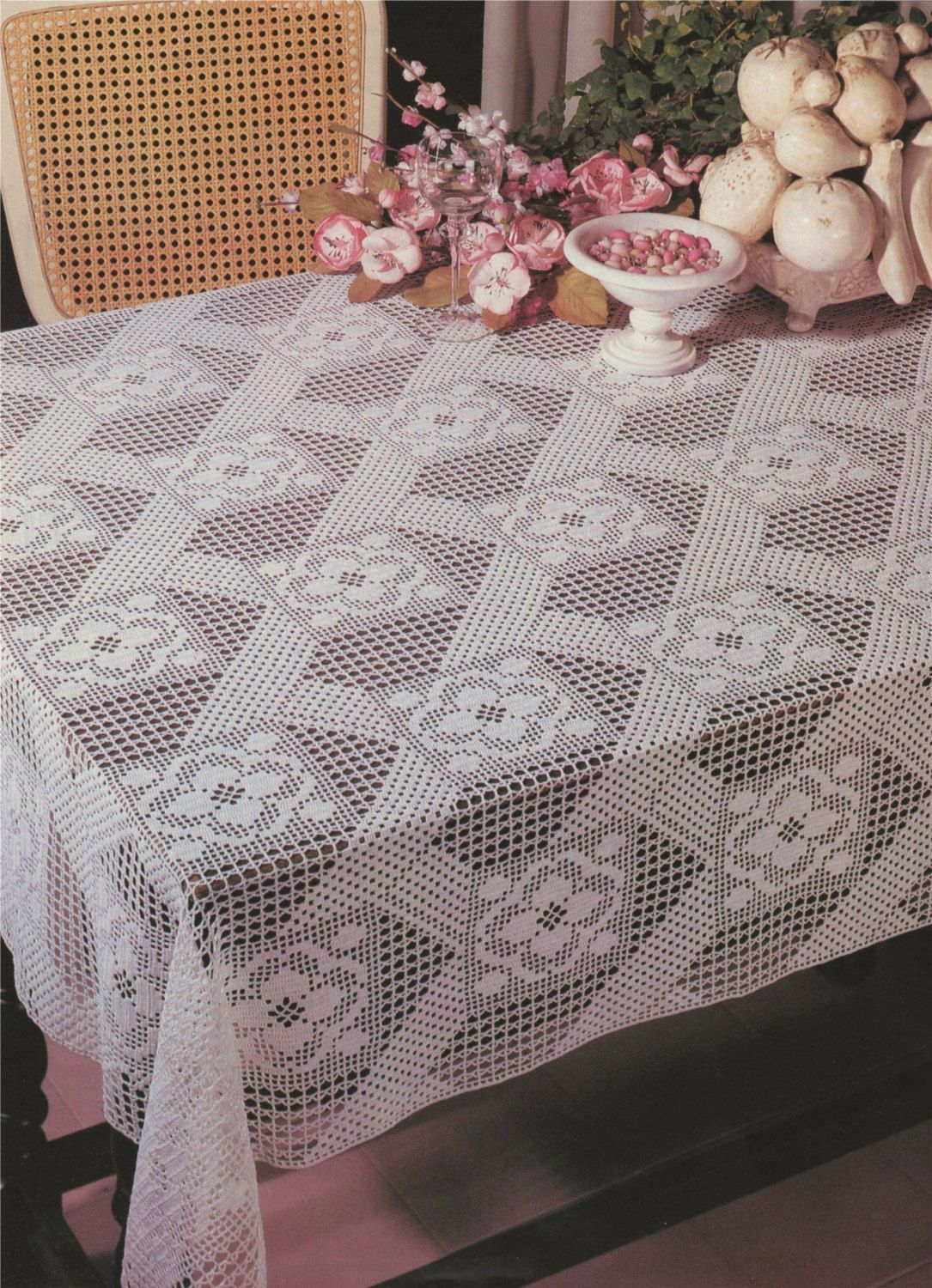 Table Cloth Crochet Pattern PDF, Tablecloth, Table Cover, Vintage ...