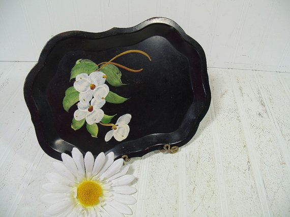 Antique Black Metal Tray with Hand Painted Dogwood Flower Bouquet - Vintage ToleWare Tip Tray - Shabby Chic BoHo Bistro Wait Staff Tip Plate $9.00 by DivineOrders