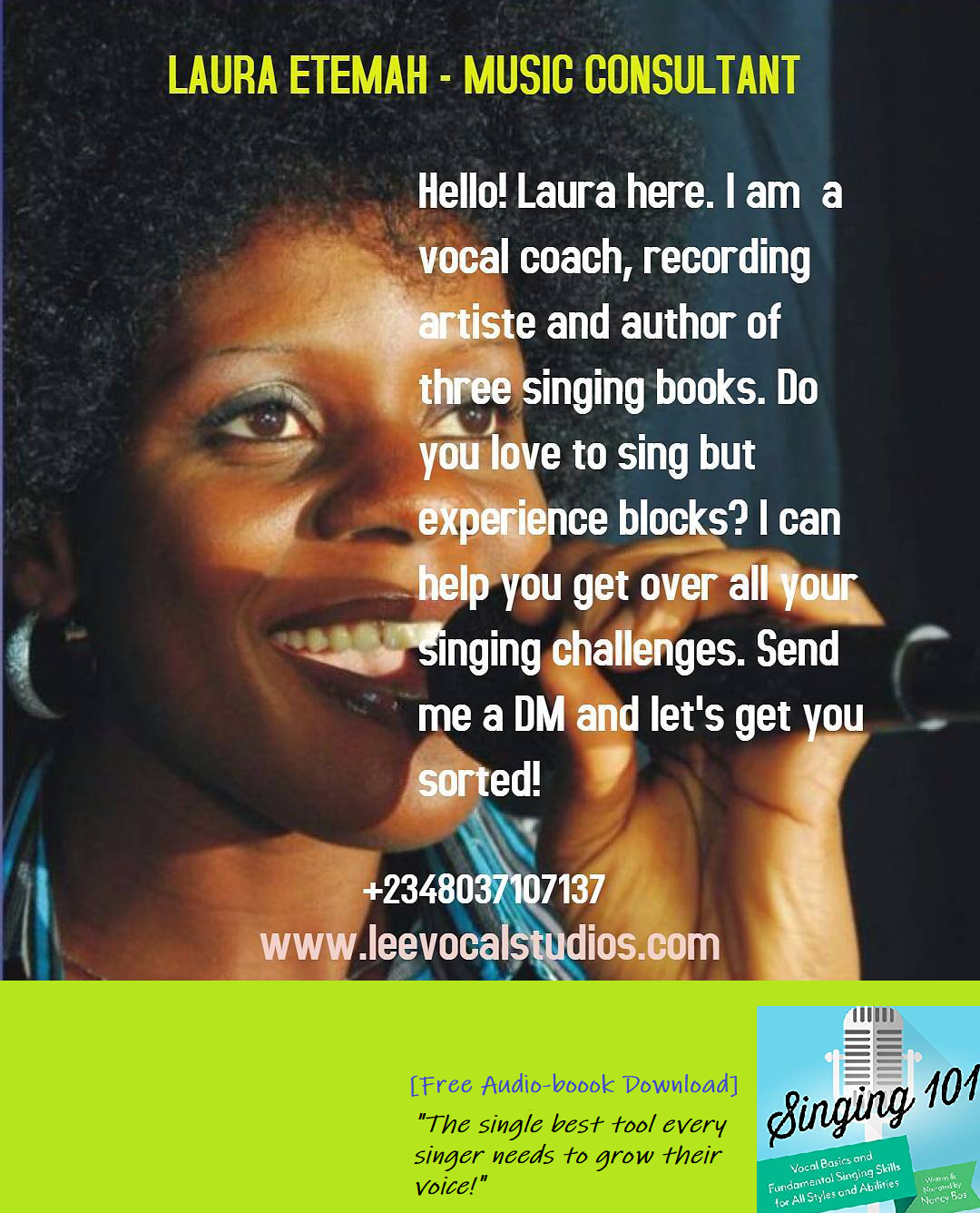 Professional singing lessons and vocal empowerment available for upcoming singers, choir members, singing groups, session/ backup singers and recording artistes. Send me a DM and I will help you unleash your star quality singing voice! #learntosing #singbetter #musiclessonsalagomeji #kidsmusiclessonsyaba #singlikeastar #newmusicreleases #videoshoot #bandrehearsal #musicworldtour #musictour #pasystem #soundchecks #talentmanager #talentagent #lagosconcerts #showbiz #celebritysingers #singingexerc