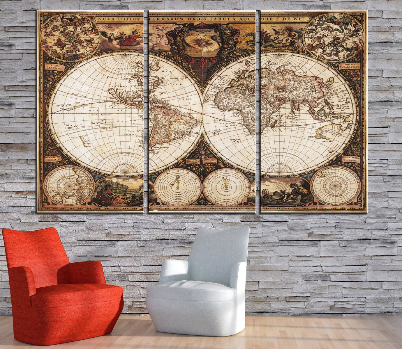 Double hemisphere world map canvas panels setancient world map double hemisphere world map canvas panels setancient world map printold world map wall art for home office decor gumiabroncs Image collections
