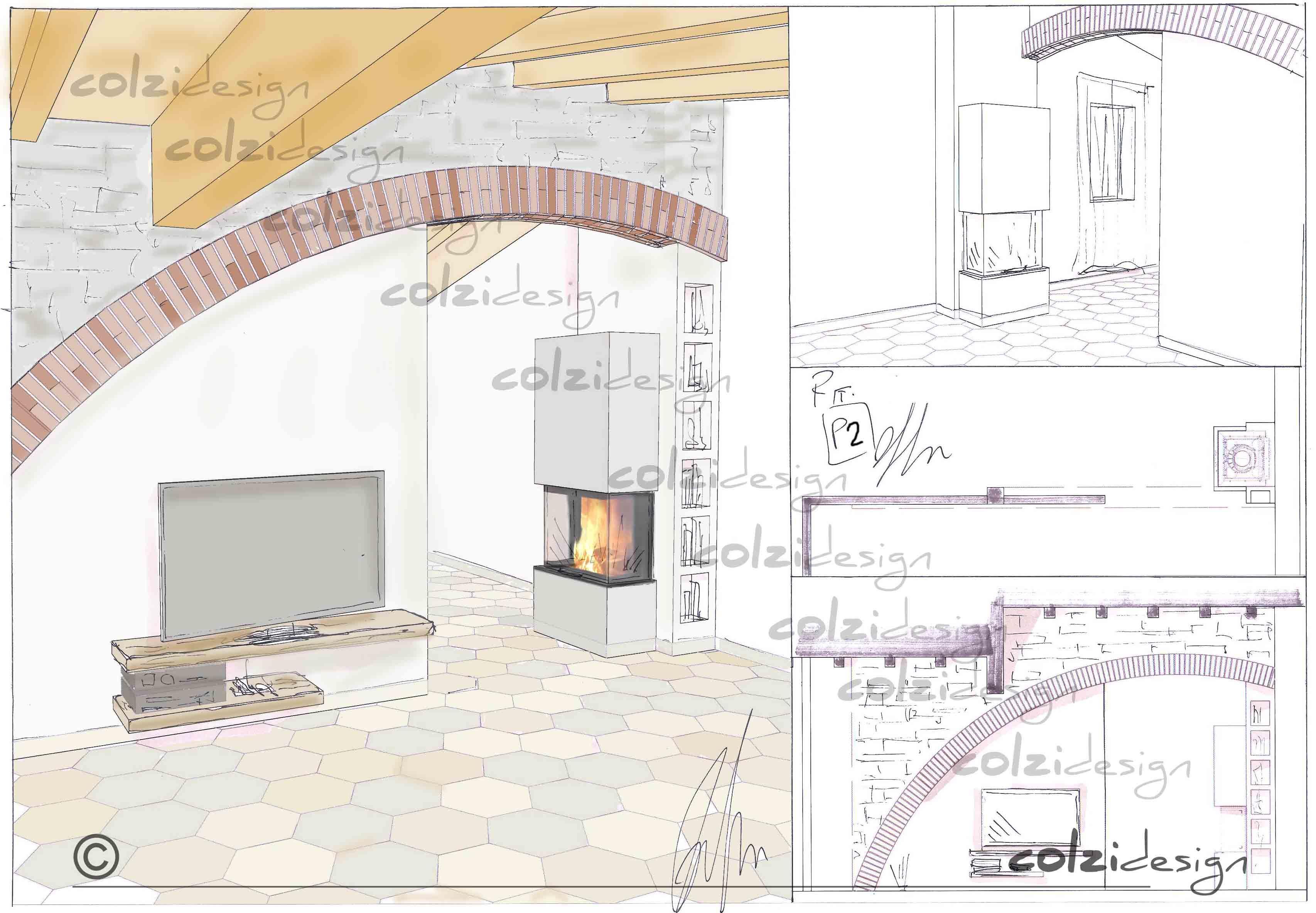 Trifacciale di AustroFlamm by #montexport Progettazione camino e ambientazione #colzidesign