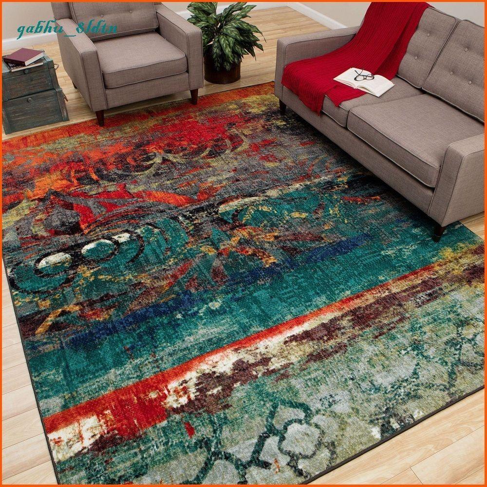Unique Area Rug Multi Color Faded Design Bright Bold Teal Blue Red Orange Carpet Mohawk