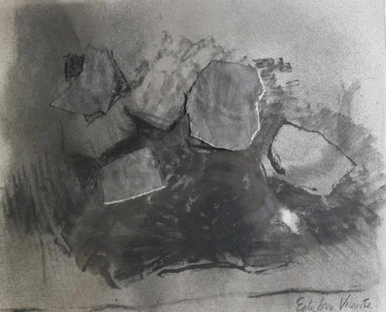 Esteban VICENTE (American, b. 1903) Untitled, 1982 Charcoal drawing with paper collage 9 x 11 inches (22.9 x 27.9 cm) Unique Price on Request — with Esteban Vicente at Steven Vail Fine Arts - Project Room.