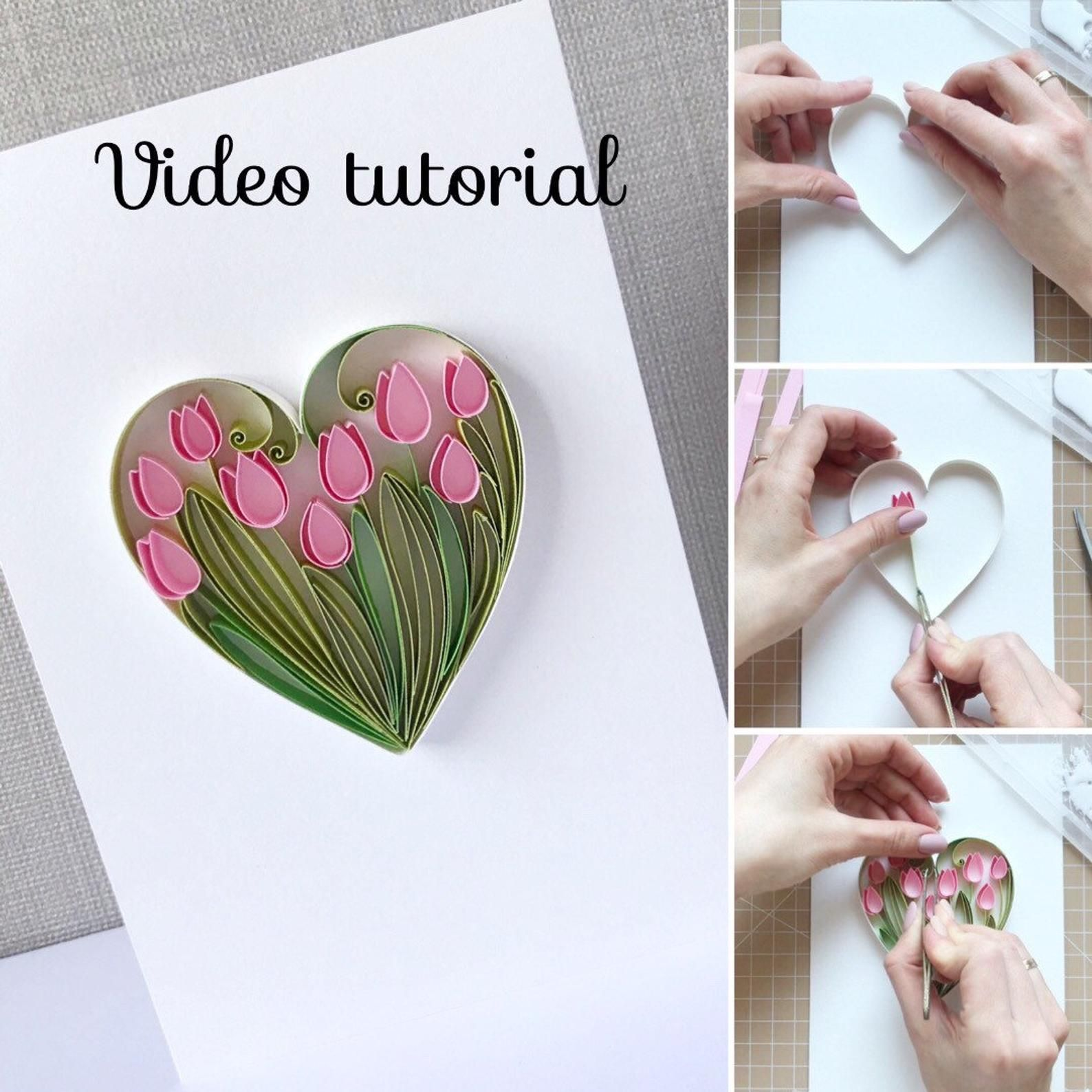 Quilling Video Tutorial How To Make Heart With Tulips Video