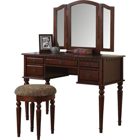 Darby Home Co Haskell Vanity Set with Mirror  Reviews Wayfair - Bedroom Vanity Table
