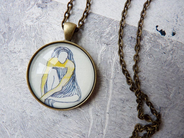 http://www.etsy.com/shop/anapina  WEARABLES necklace pendant woman art illustration portrait - fragments series. €17.00, via Etsy.