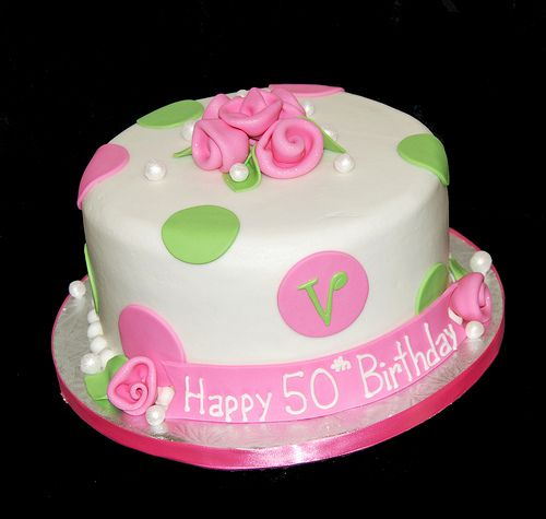 Pink And Green Polka Dot Th Birthday Cake With Monogram - Monogram birthday cakes
