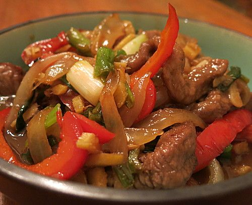Photo of Chinese beef with onions and peppers