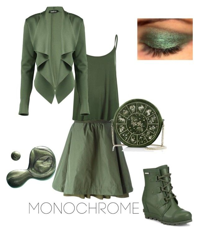 """Olive a great day!"" by tamara-dawn-kilpatrick ❤ liked on Polyvore featuring Moncler, WearAll, Boohoo, SOREL and Illamasqua"