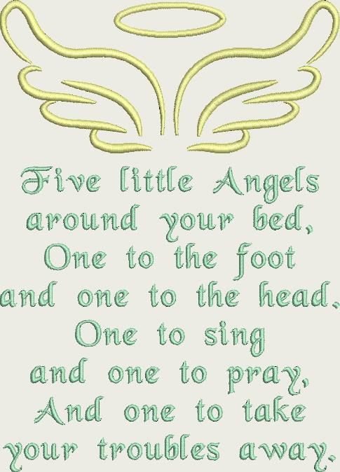 Five Little Angels Prayer Machine Embroidery Desig