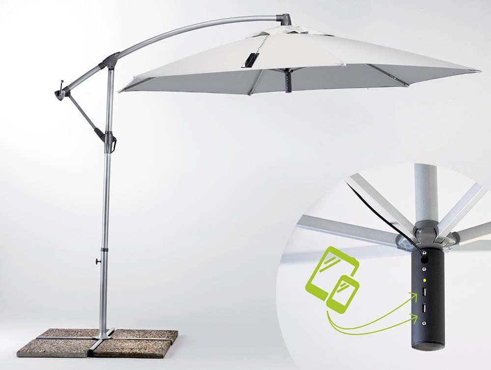 Ombrellone Giardino 3x3 Braccio Caricabatterie Usb Pannello Solare