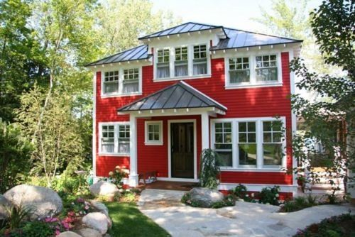 Red House With Dark Gray Metal Roof White Trim Red Houses House