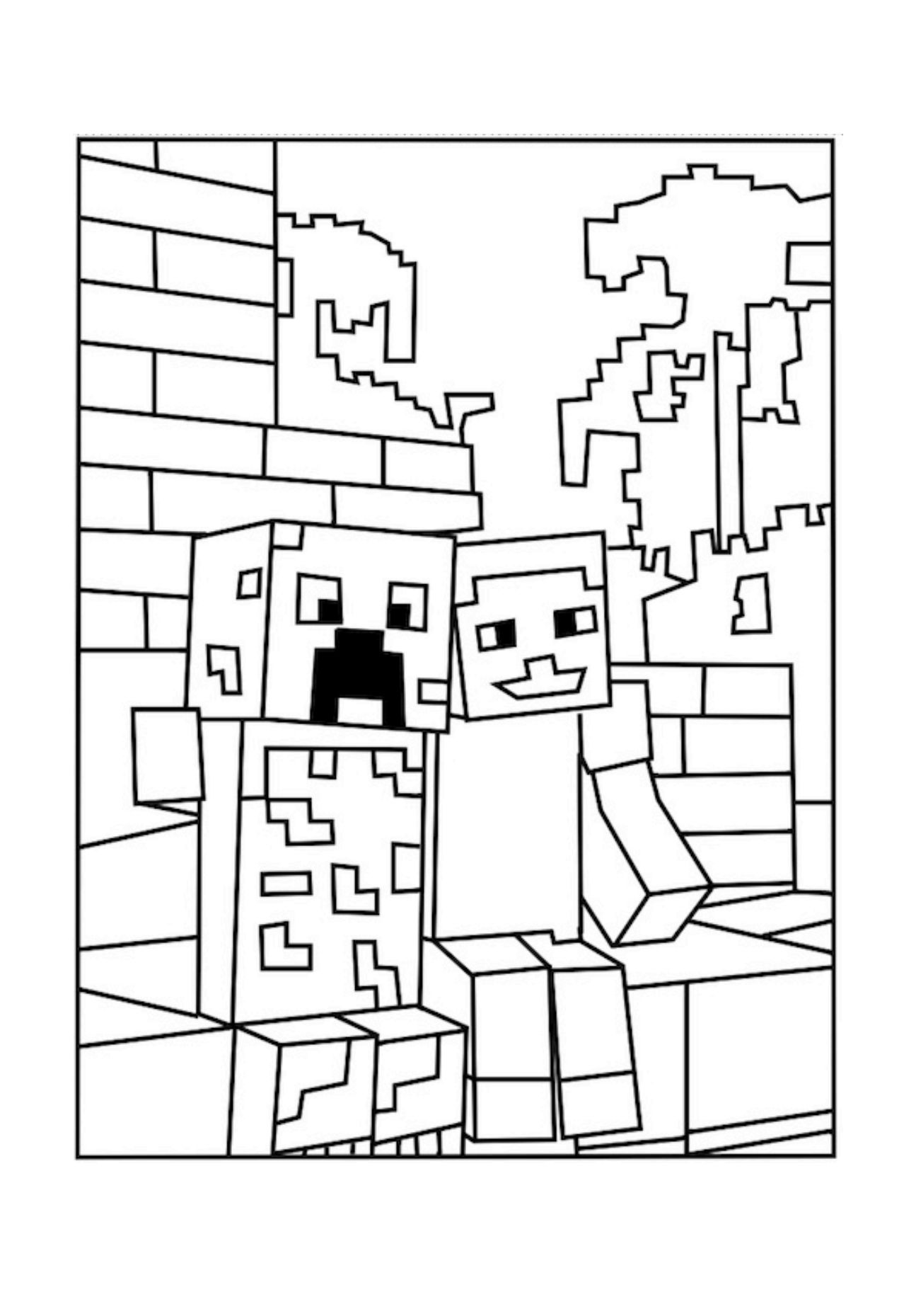A Minecraft Creeper And Pal Coloring Picture