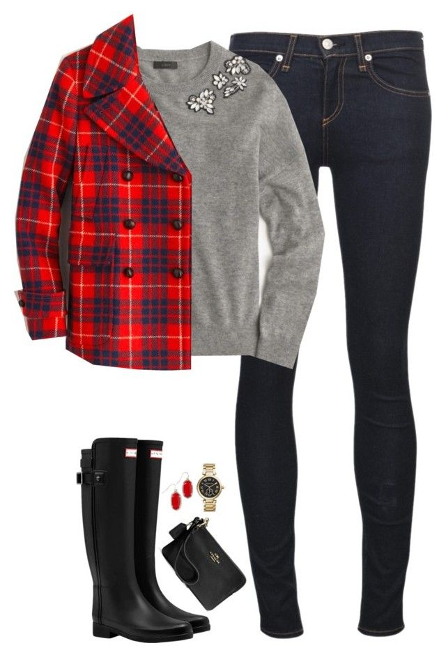 """Plaid peacoat, embellished top & Hunter boots"" by steffiestaffie ❤ liked on Polyvore featuring Hunter, rag & bone/JEAN, J.Crew, Kendra Scott, Coach and Michael Kors"