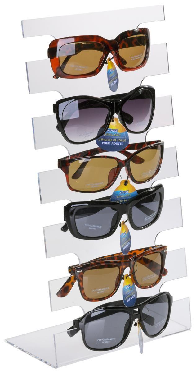 NEW CLEAR 6 PAIR SUNGLASS DISPLAY RACK eyewear holder glasses counter displays