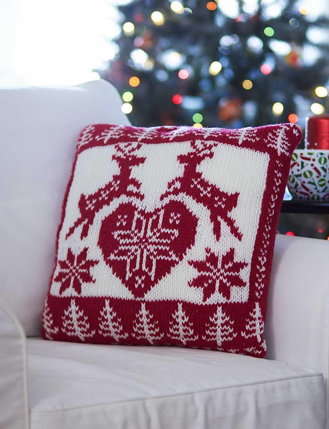 Nordic Holiday Pillow - Free Pattern | Yarnspirations | Knit happens ...