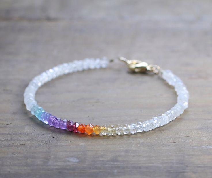 Ombre Rainbow Gemstone Bracelet with Moonstone in Sterling Silver or Gold Filled, Yellow Orange Purple Aqua Gemstone, Beaded Rainbow Jewelry #gemstonejewelry