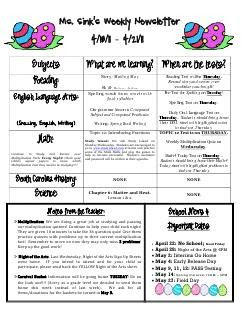 Weekly Newsletter Templates For Teachers  Teaching