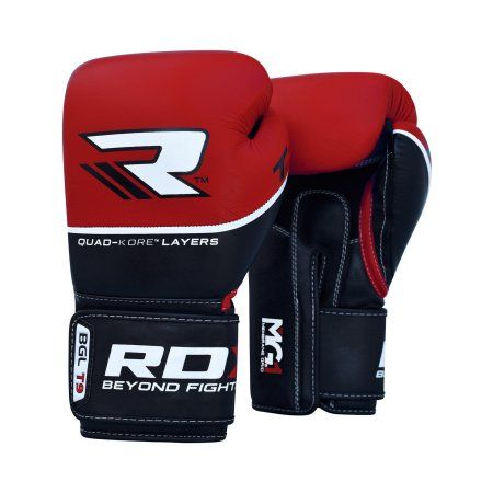 Rdx Cow Hide Leather Boxing Glove Red 14-Oz, Black